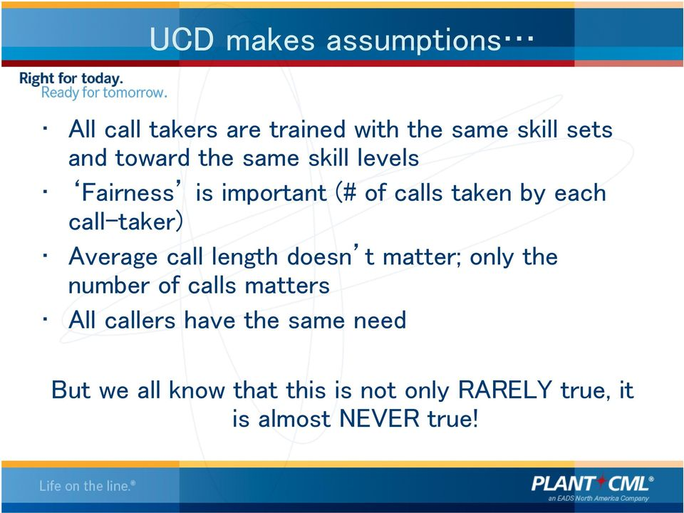 Average call length doesn t matter; only the number of calls matters All callers have