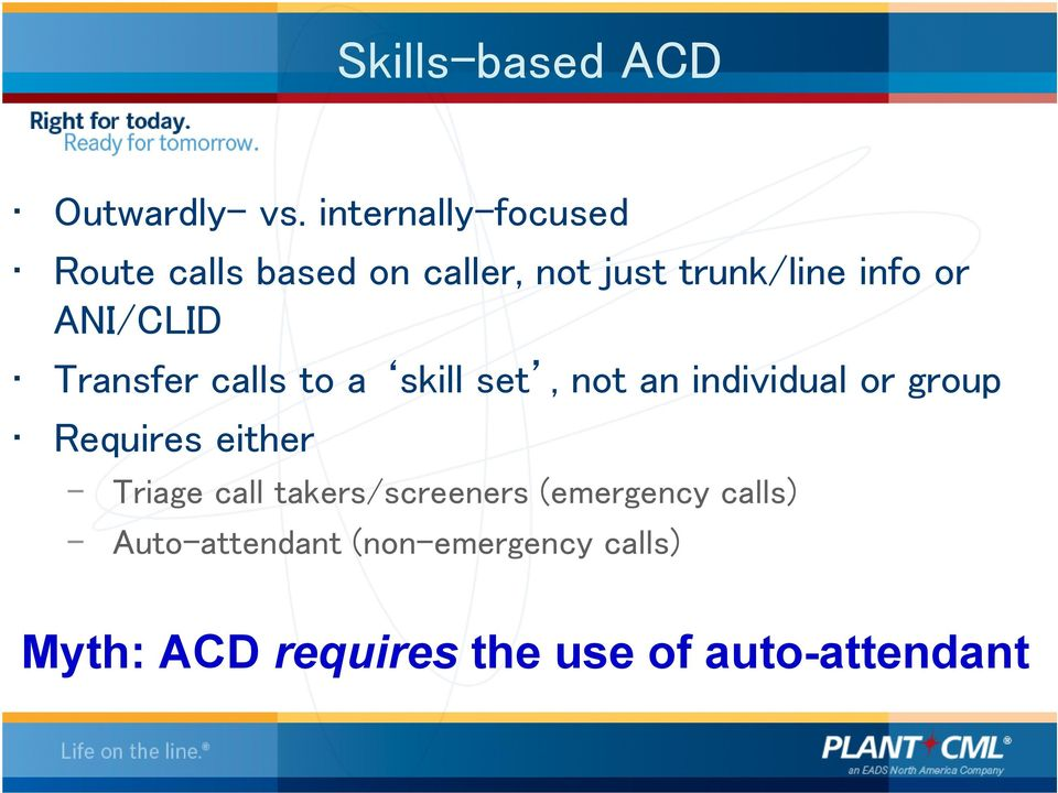 ANI/CLID Transfer calls to a skill set, not an individual or group Requires