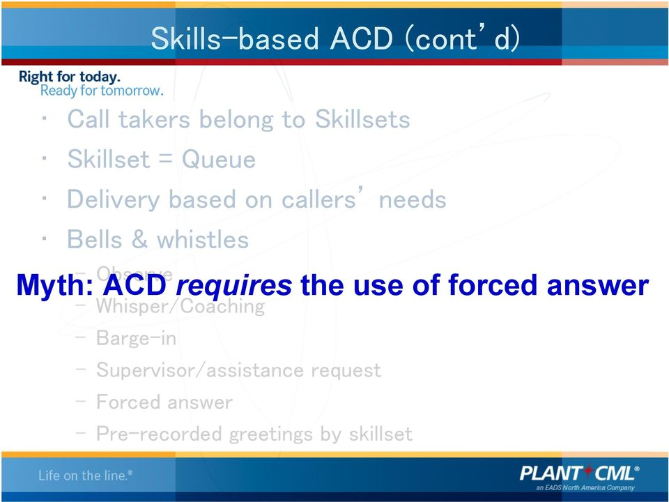 ACD requires the use of forced answer Whisper/Coaching Barge-in