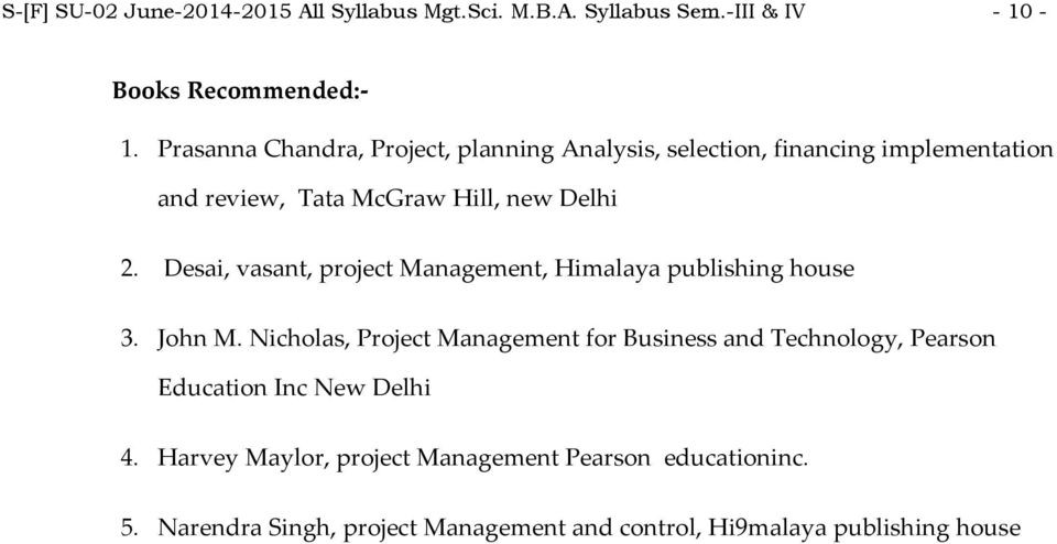 Desai, vasant, project Management, Himalaya publishing house 3. John M.