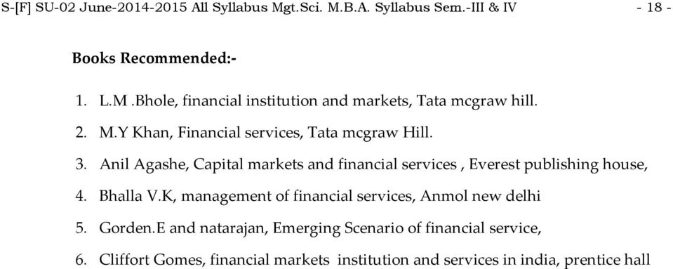 Anil Agashe, Capital markets and financial services, Everest publishing house, 4. Bhalla V.