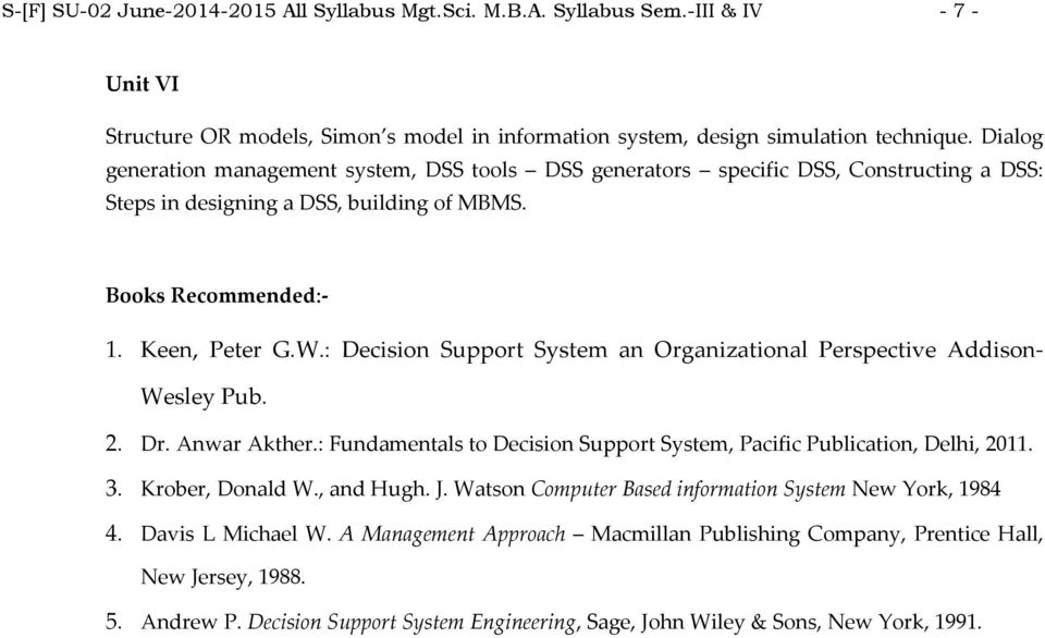 : Decision Support System an Organizational Perspective Addison Wesley Pub. 2. Dr. Anwar Akther.: Fundamentals to Decision Support System, Pacific Publication, Delhi, 2011. 3. Krober, Donald W.