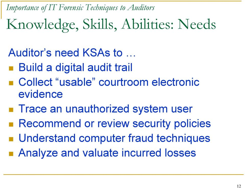 electronic evidence Trace an unauthorized system user Recommend or review