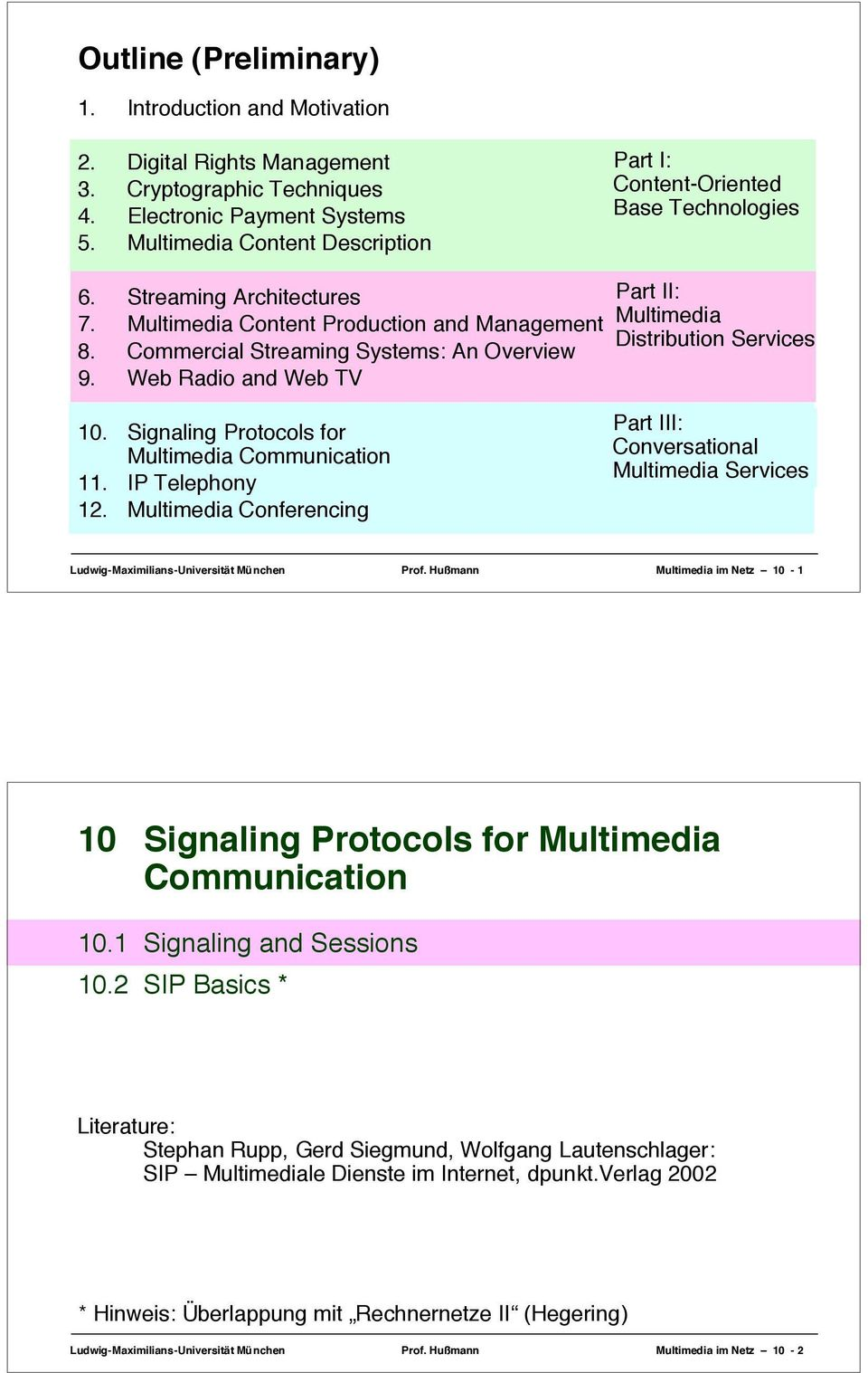 Web Radio and Web TV Part II: Multimedia Distribution Services 10. Signaling Protocols for Multimedia Communication 11. IP Telephony 12.