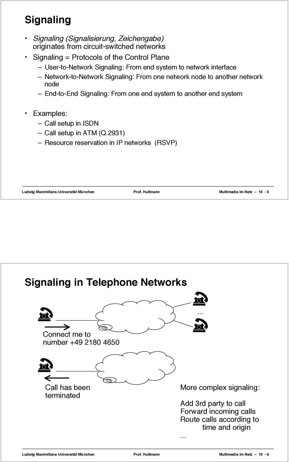 2931) Resource reservation in IP networks (RSVP) Ludwig-Maximilians-Universität München Prof. Hußmann Multimedia im Netz 10-5 Signaling in Telephone Networks.