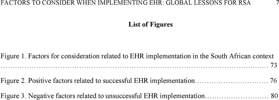 Factors for consideration related to EHR implementation in the South African