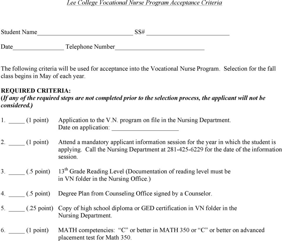 (1 point) Application to the V.N. program on file in the Nursing Department. Date on application: 2.