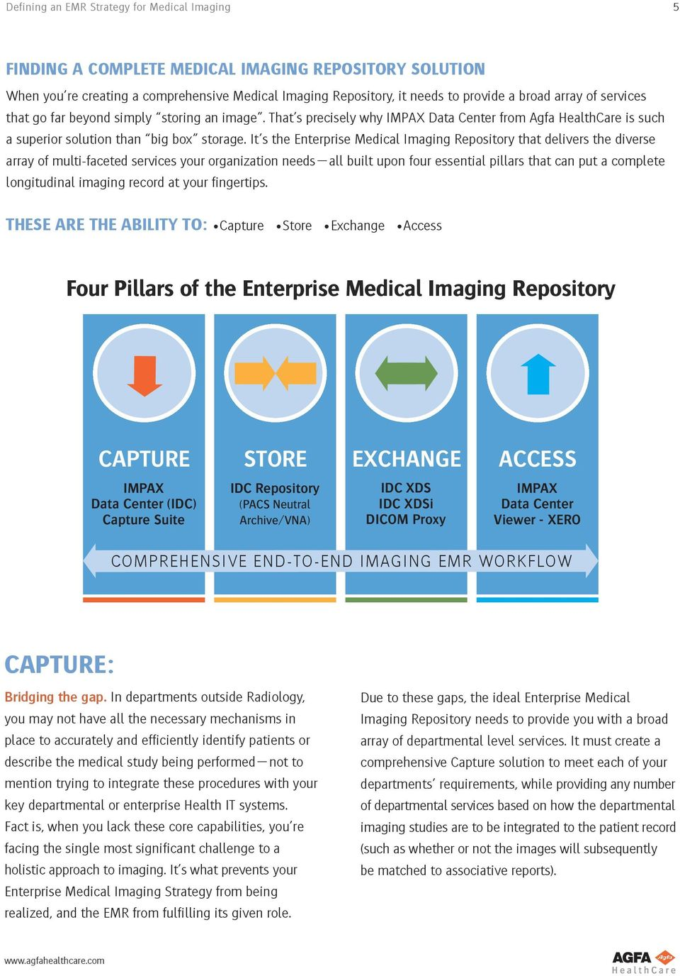 It s the Enterprise Medical Imaging Repository that delivers the diverse array of multi-faceted services your organization needs all built upon four essential pillars that can put a complete