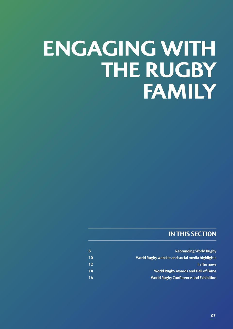 social media highlights 12 In the news 14 World Rugby