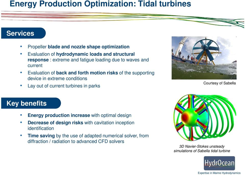 turbines in parks Courtesy of Sabella Key benefits Energy production increase with optimal design Decrease of design risks with cavitation inception identification