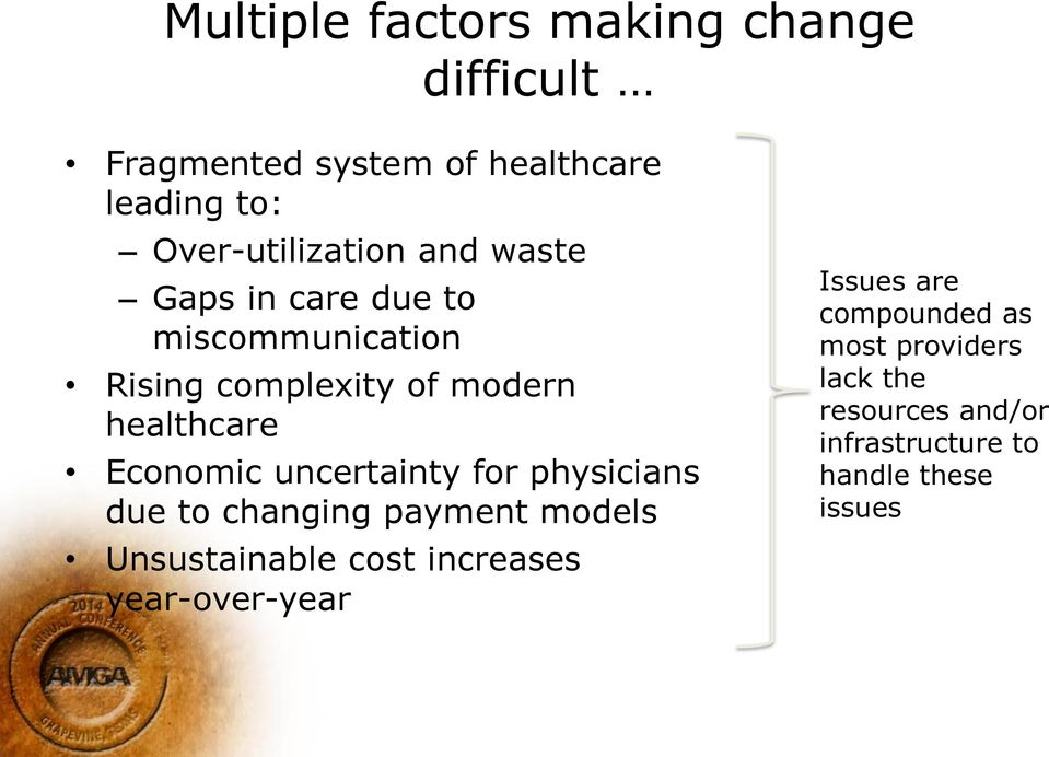 healthcare Economic uncertainty for physicians due to changing payment models Unsustainable cost