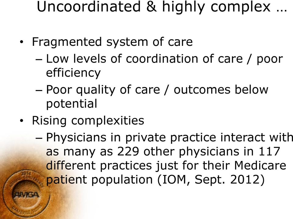 complexities Physicians in private practice interact with as many as 229 other