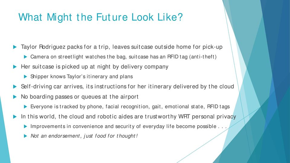 picked up at night by delivery company Shipper knows Taylor s itinerary and plans Self-driving car arrives, its instructions for her itinerary delivered by the cloud No