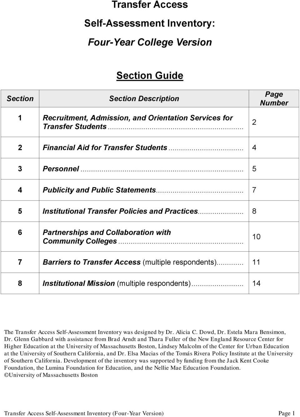 .. 10 7 Barriers to Transfer Access (multiple respondents)... 11 8 Mission (multiple respondents)... 14 The Transfer Access Self-Assessment Inventory was designed by Dr. Alicia C. Dowd, Dr.