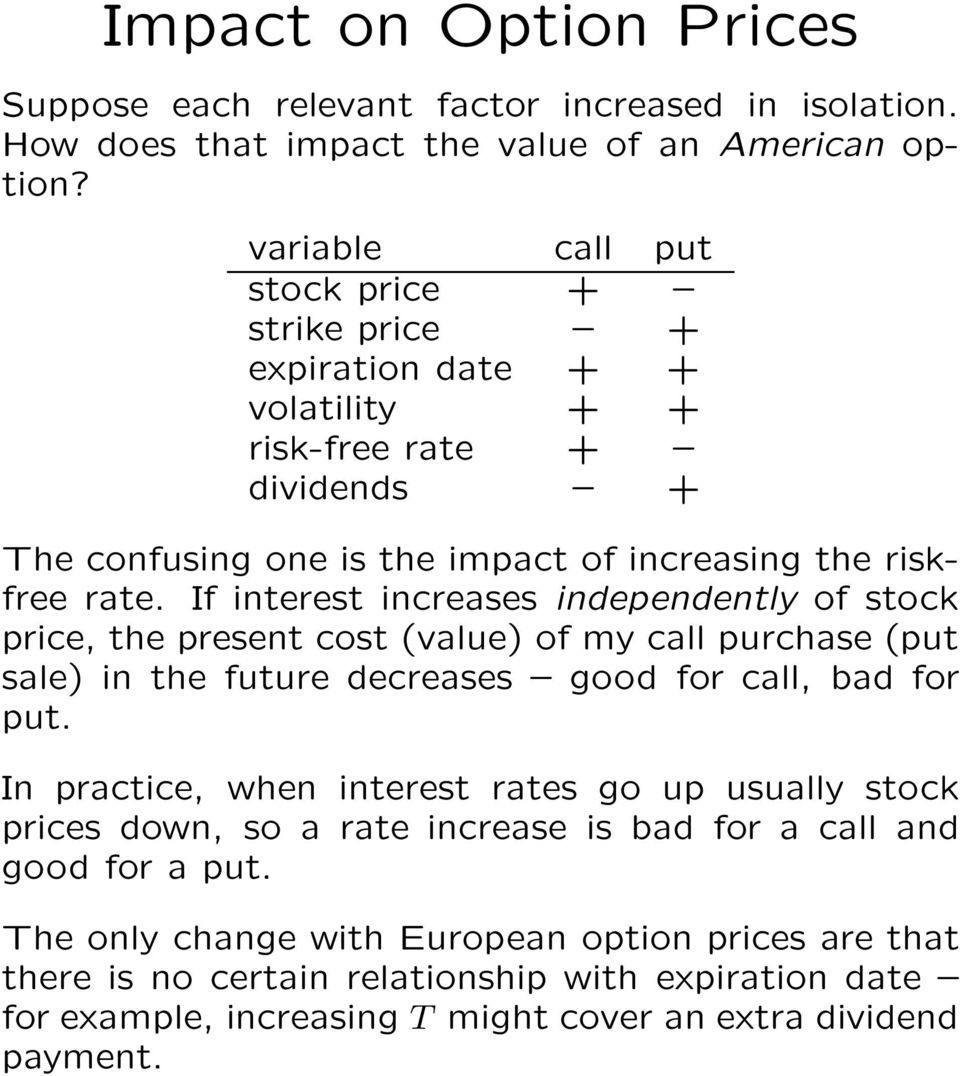 If interest increases independently of stock price, the present cost (value) of my call purchase (put sale) in the future decreases good for call, bad for put.