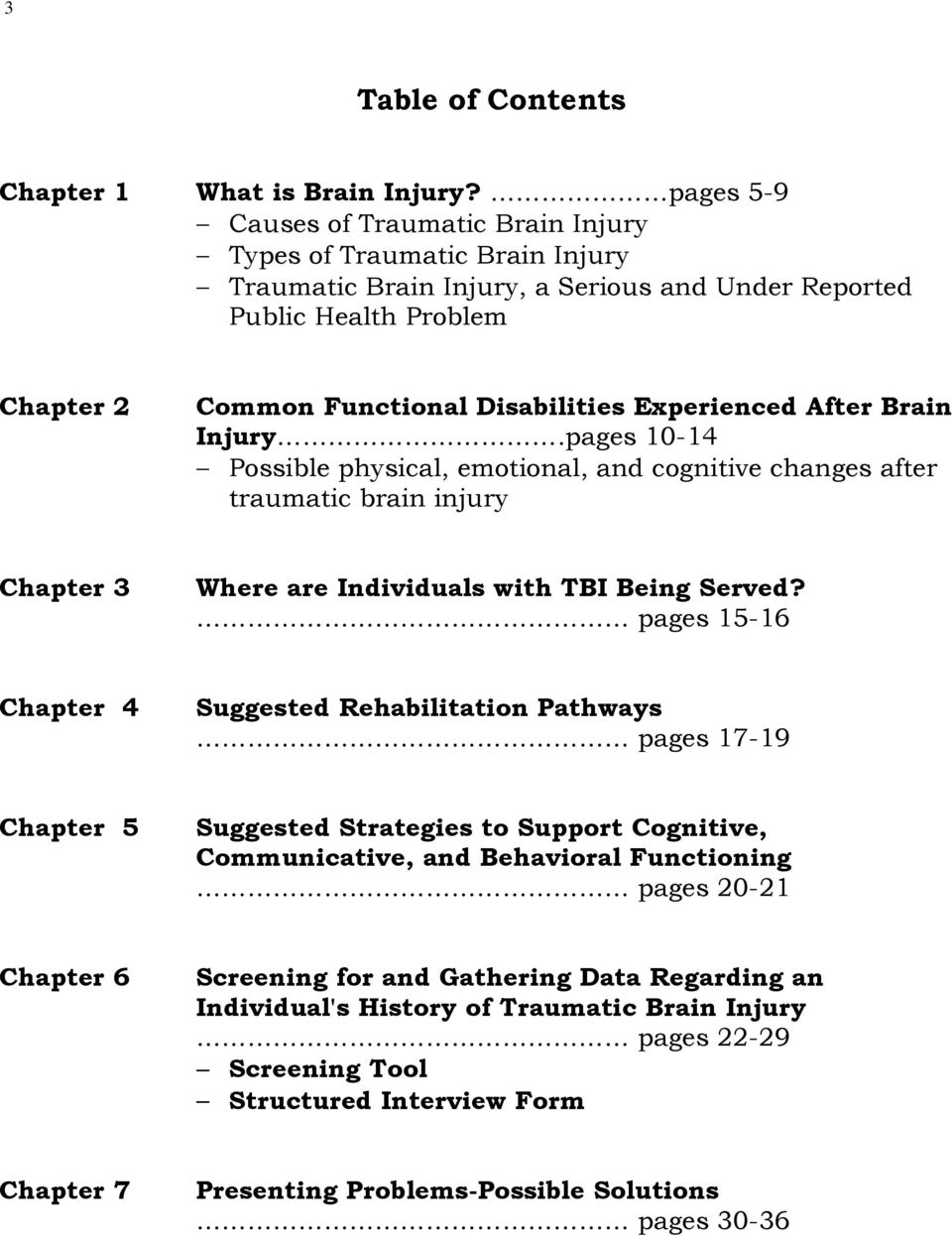 Experienced After Brain Injury.pages 10-14 Possible physical, emotional, and cognitive changes after traumatic brain injury Chapter 3 Where are Individuals with TBI Being Served?