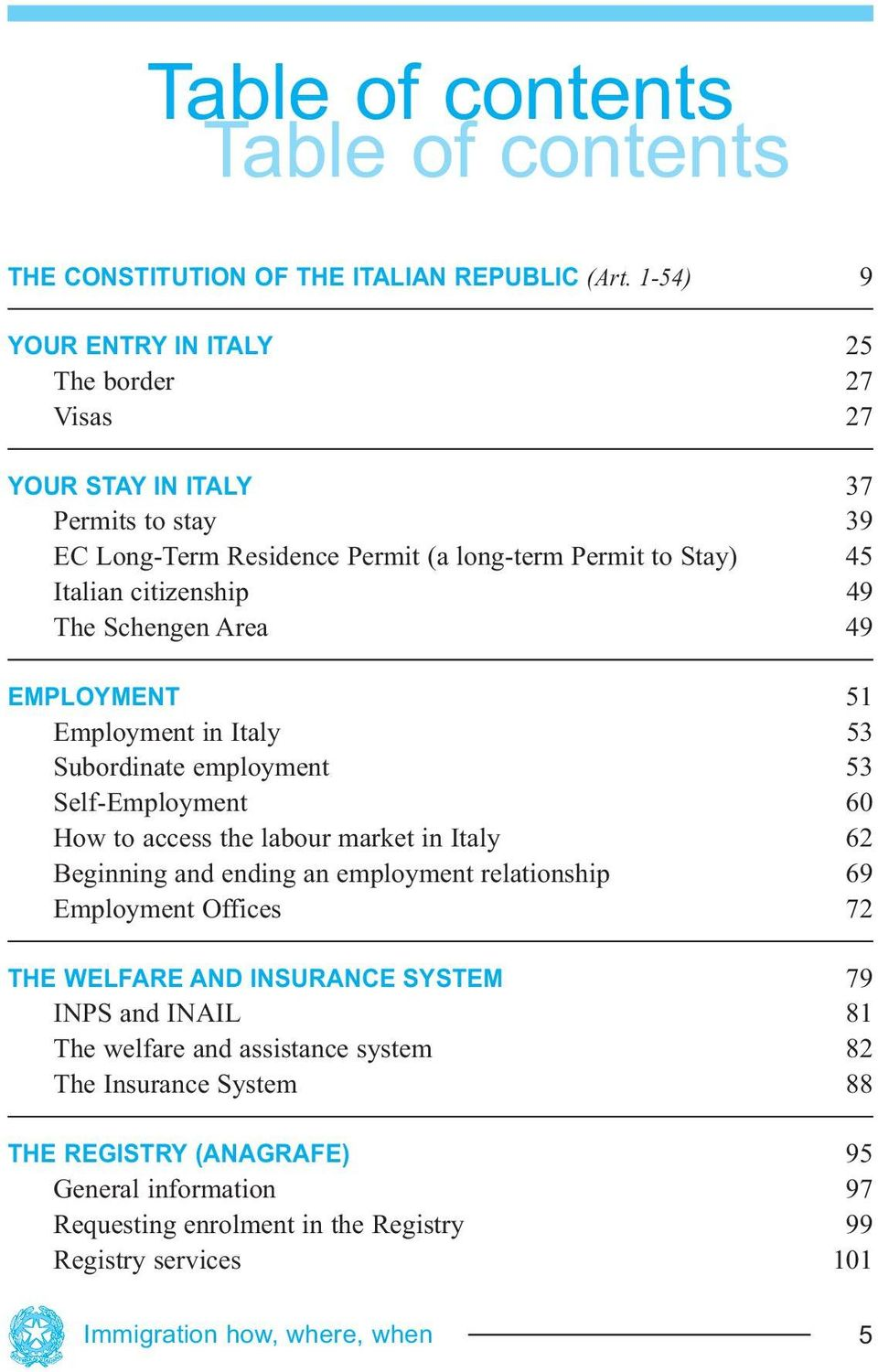 Schengen Area 49 EMPLOYMENT 51 Employment in Italy 53 Subordinate employment 53 Self-Employment 60 How to access the labour market in Italy 62 Beginning and ending an employment