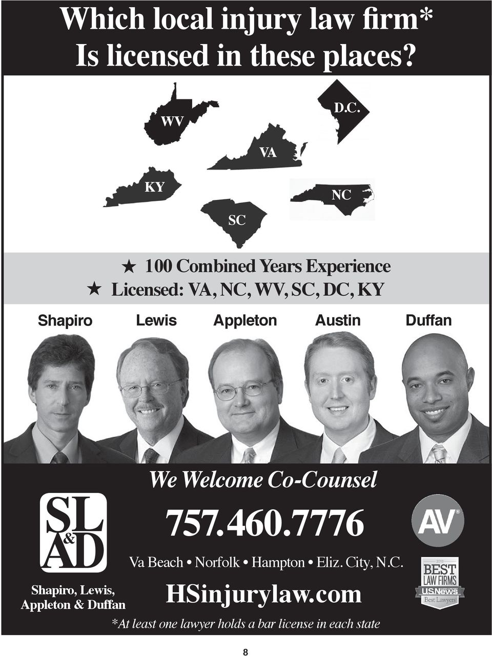 Appleton Austin Duffan SL AD & We Welcome Co-Counsel 757.460.