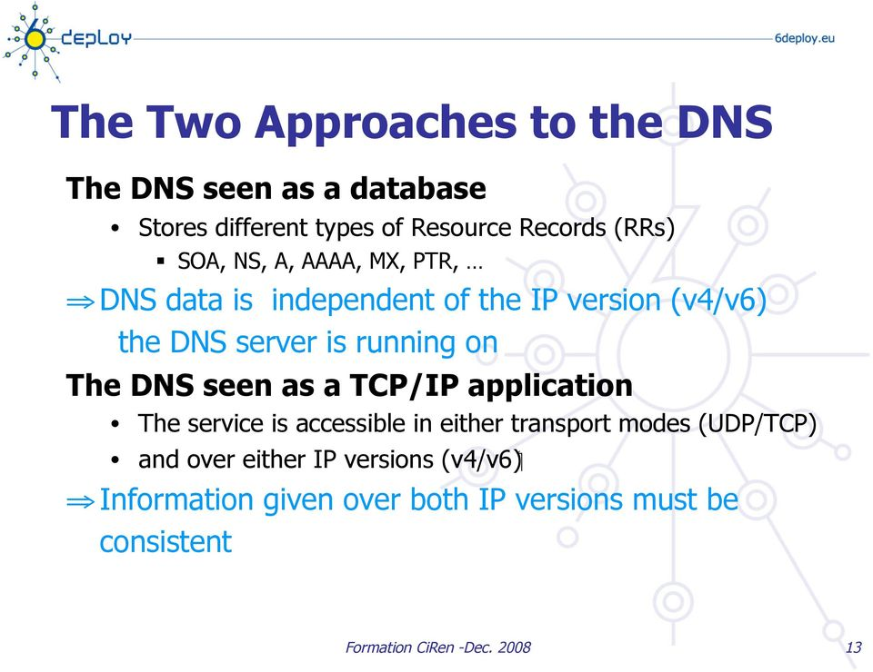 DNS seen as a TCP/IP application The service is accessible in either transport modes (UDP/TCP) ( v4/v6 ) and
