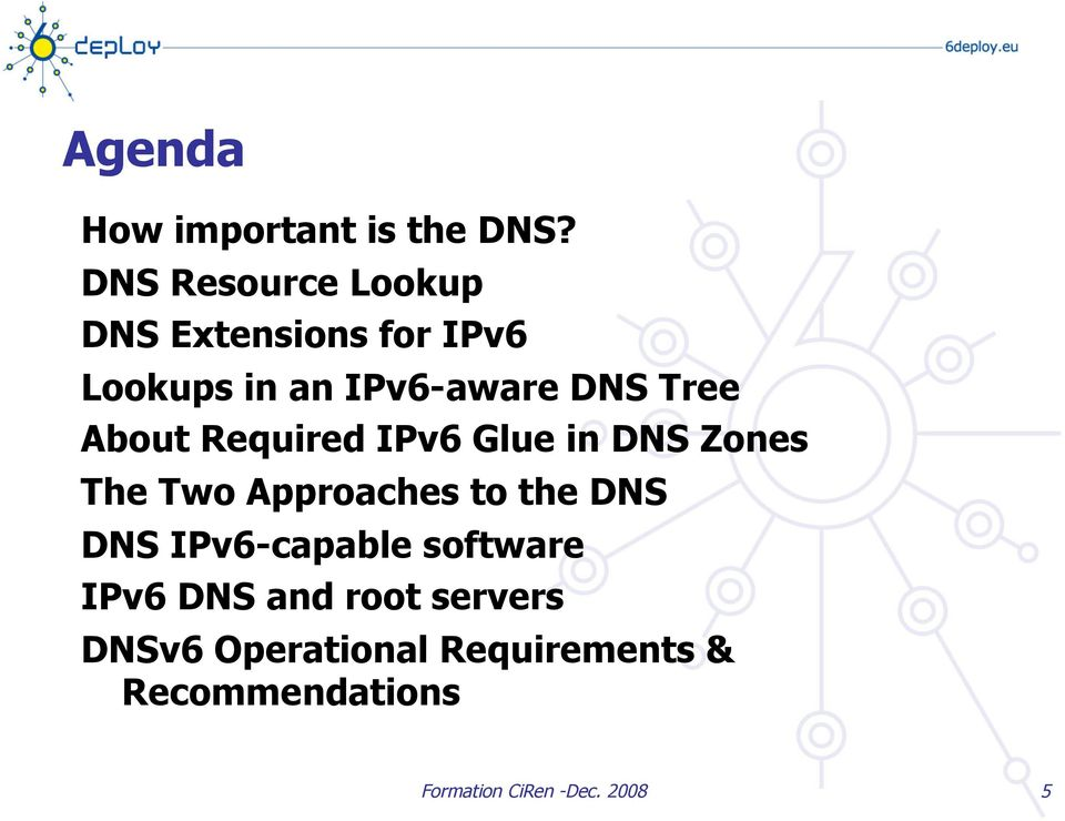 Tree About Required IPv6 Glue in DNS Zones The Two Approaches to the DNS DNS