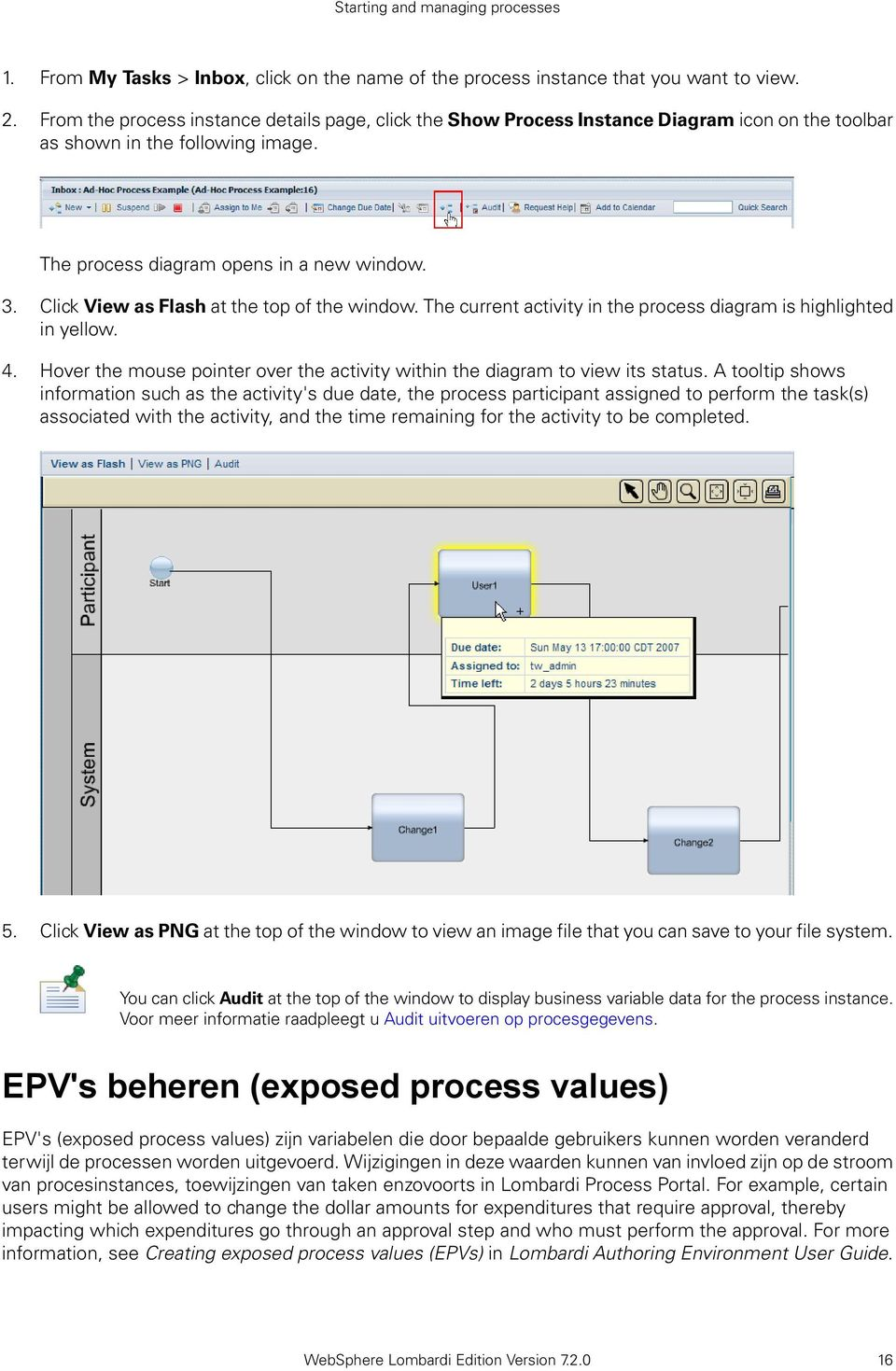 Click View as Flash at the top of the window. The current activity in the process diagram is highlighted in yellow. 4. Hover the mouse pointer over the activity within the diagram to view its status.