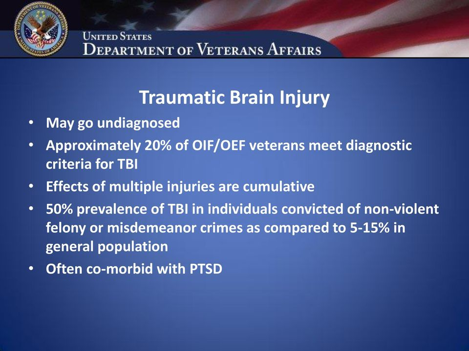cumulative 50% prevalence of TBI in individuals convicted of non-violent
