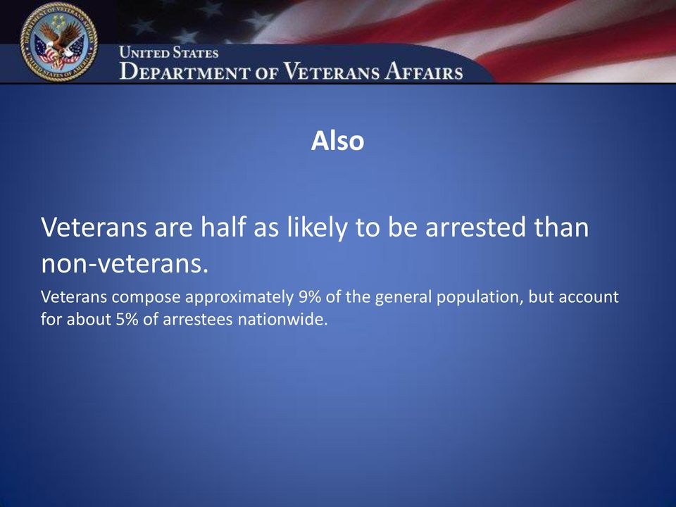 Veterans compose approximately 9% of the