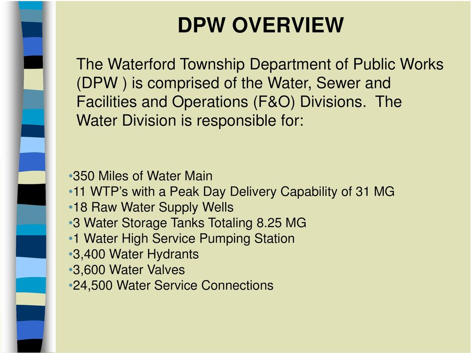 The Water Division is responsible for: 350 Miles of Water Main 11 WTP s with a Peak Day Delivery Capability of