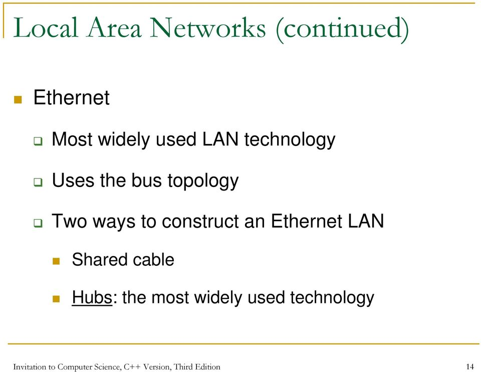 Ethernet LAN Shared cable Hubs: the most widely used