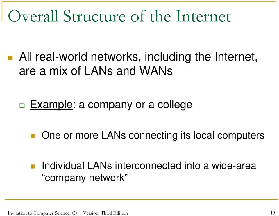 more LANs connecting its local computers Individual LANs interconnected into a