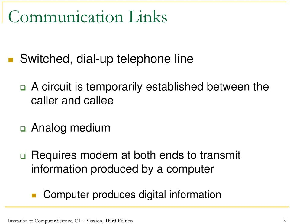 modem at both ends to transmit information produced by a computer Computer