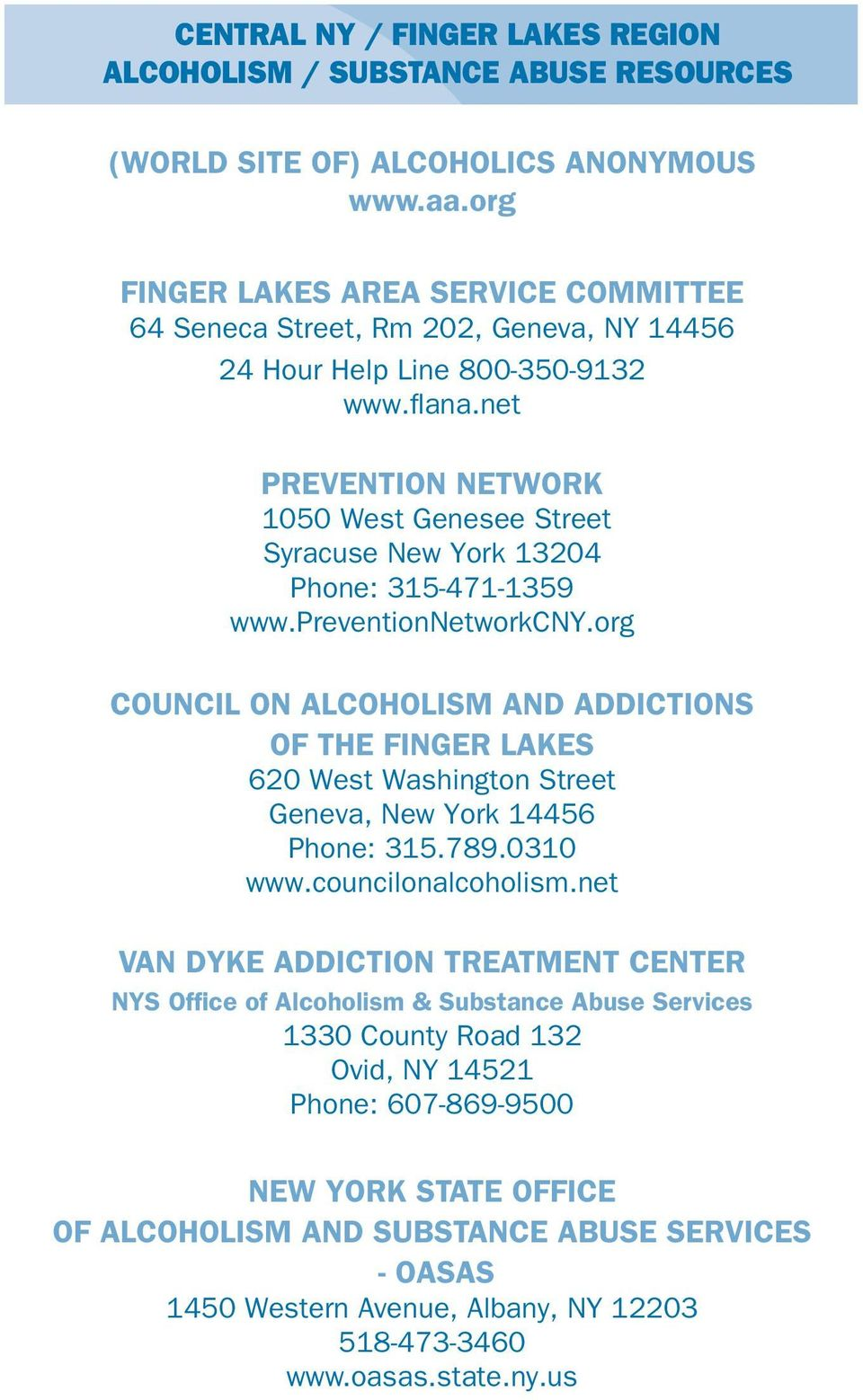 net Prevention Network 1050 West Genesee Street Syracuse New York 13204 Phone: 315-471-1359 www.preventionnetworkcny.