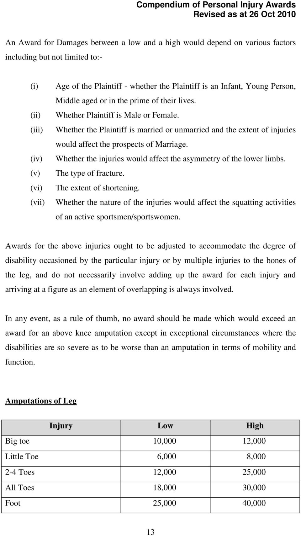 Awards for the above injuries ought to be adjusted to accommodate the degree of disability occasioned by the particular injury or by multiple injuries to the bones of the leg, and do not necessarily