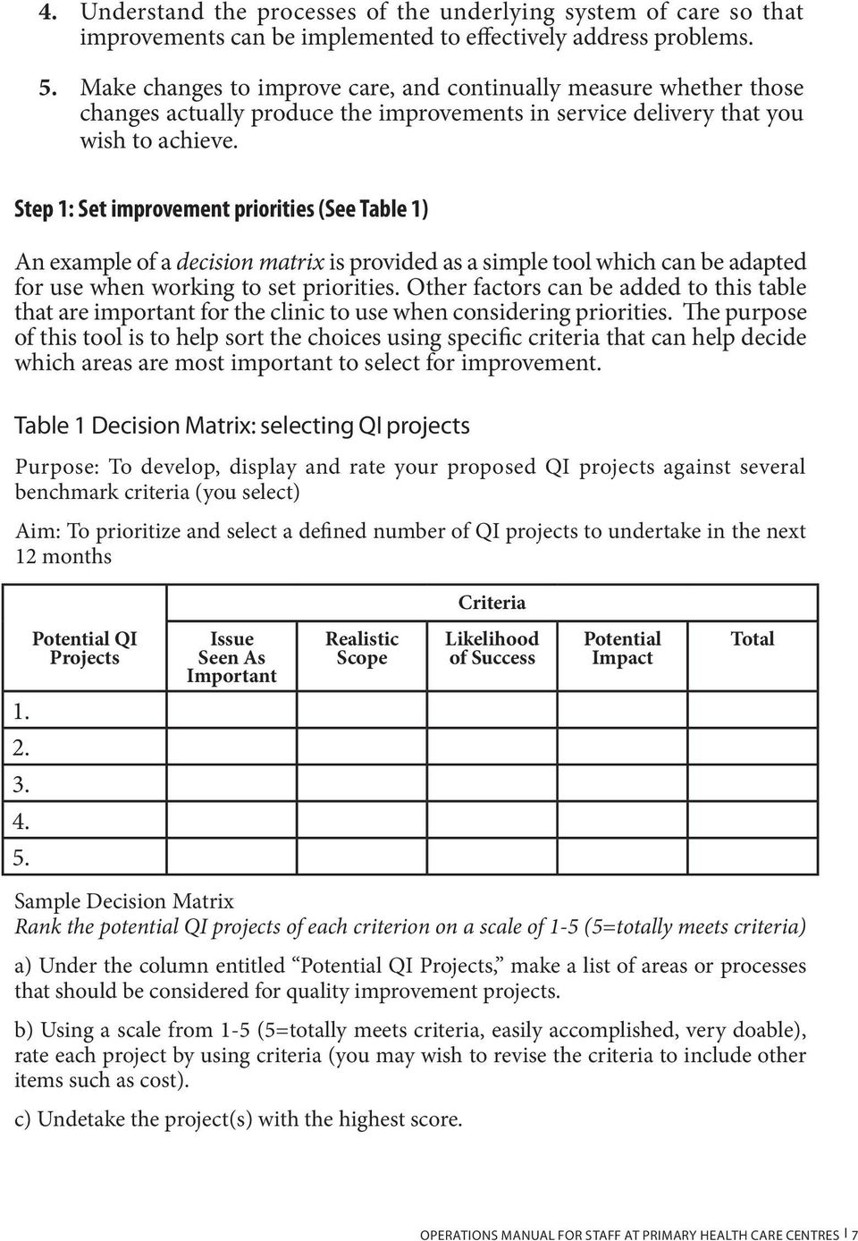 Step 1: Set improvement priorities (See Table 1) An example of a decision matrix is provided as a simple tool which can be adapted for use when working to set priorities.