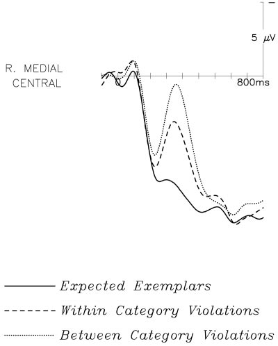 LONG-TERM MEMORY STRUCTURE AND SENTENCE PROCESSING 481 FIG. 3. Effect of ending type, shown at the right medial central site. A three-way split can be observed in the amplitude of the N400 response.