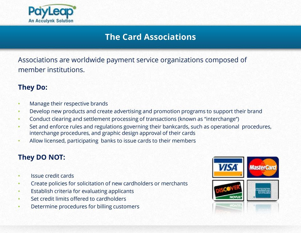 as interchange ) Set and enforce rules and regulations governing their bankcards, such as operational procedures, interchange procedures, and graphic design approval of their cards Allow