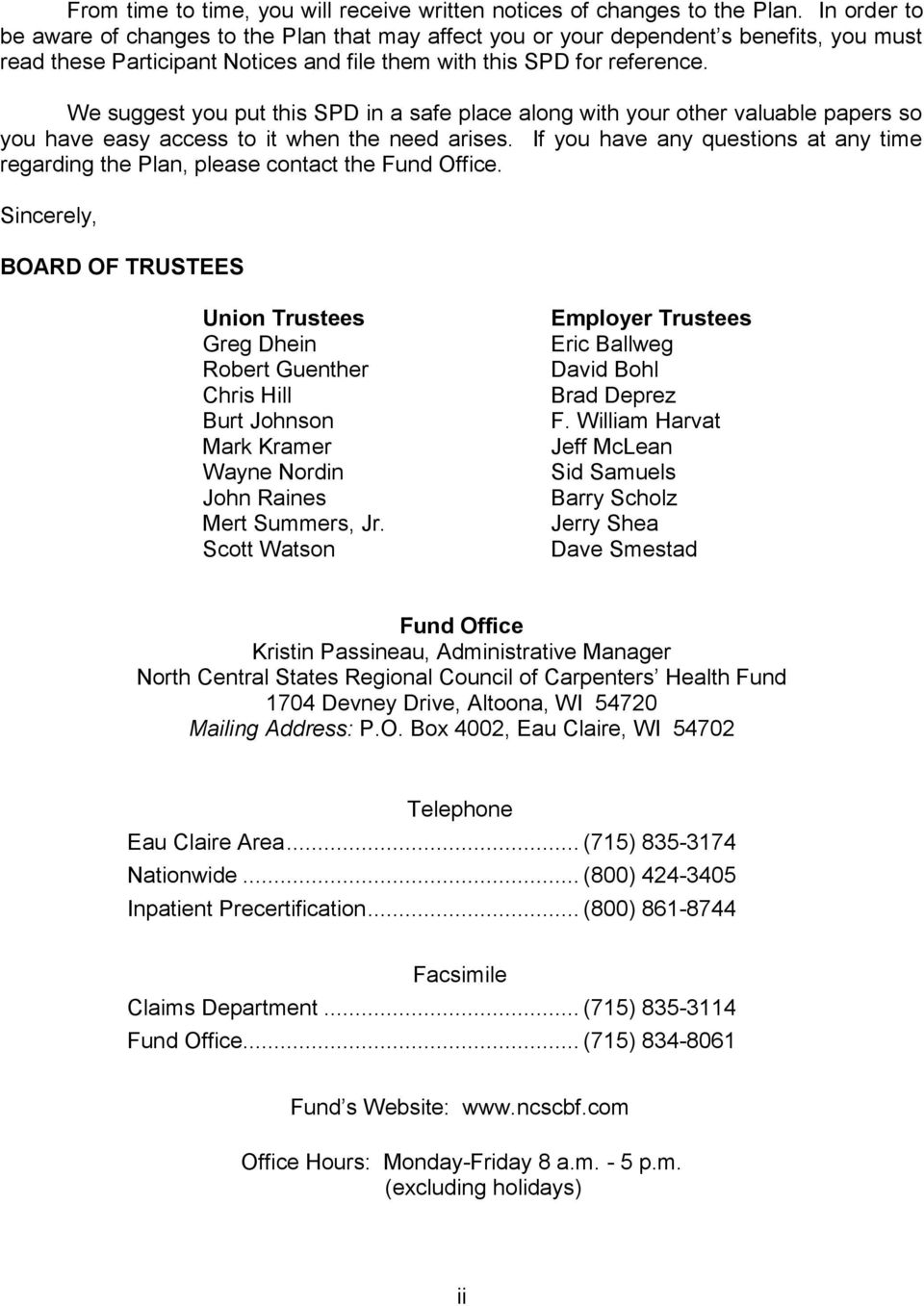 North central states regional council of carpenters health - Carpenter funds administrative office ...
