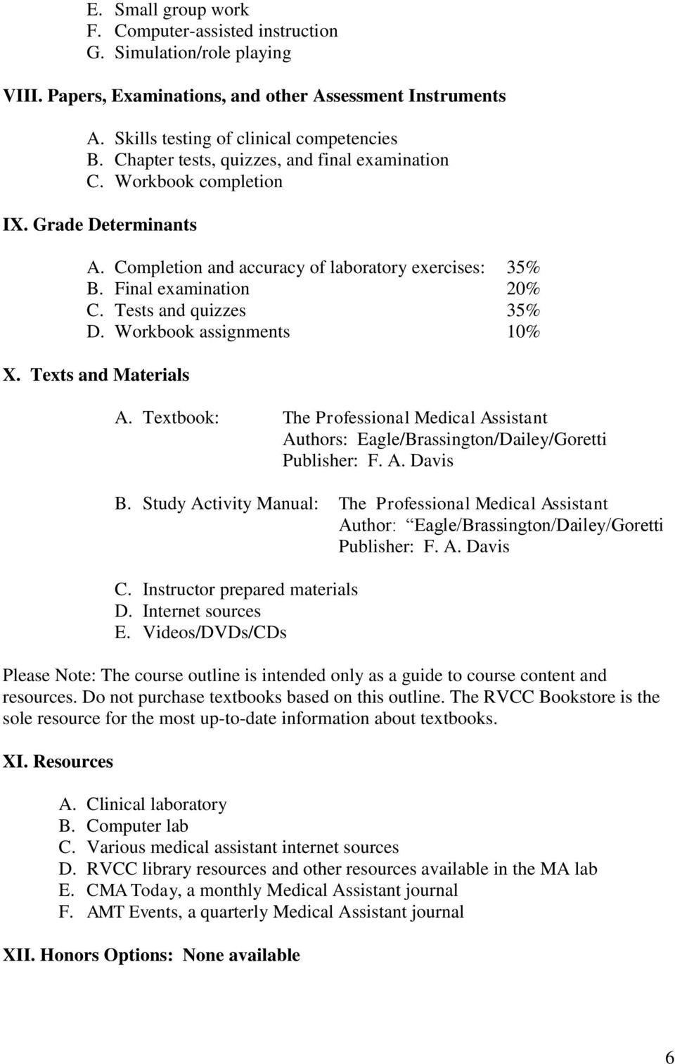 Workbook assignments 10% X. Texts and Materials A. Textbook: The Professional Medical Assistant Authors: Eagle/Brassington/Dailey/Goretti Publisher: F. A. Davis B.