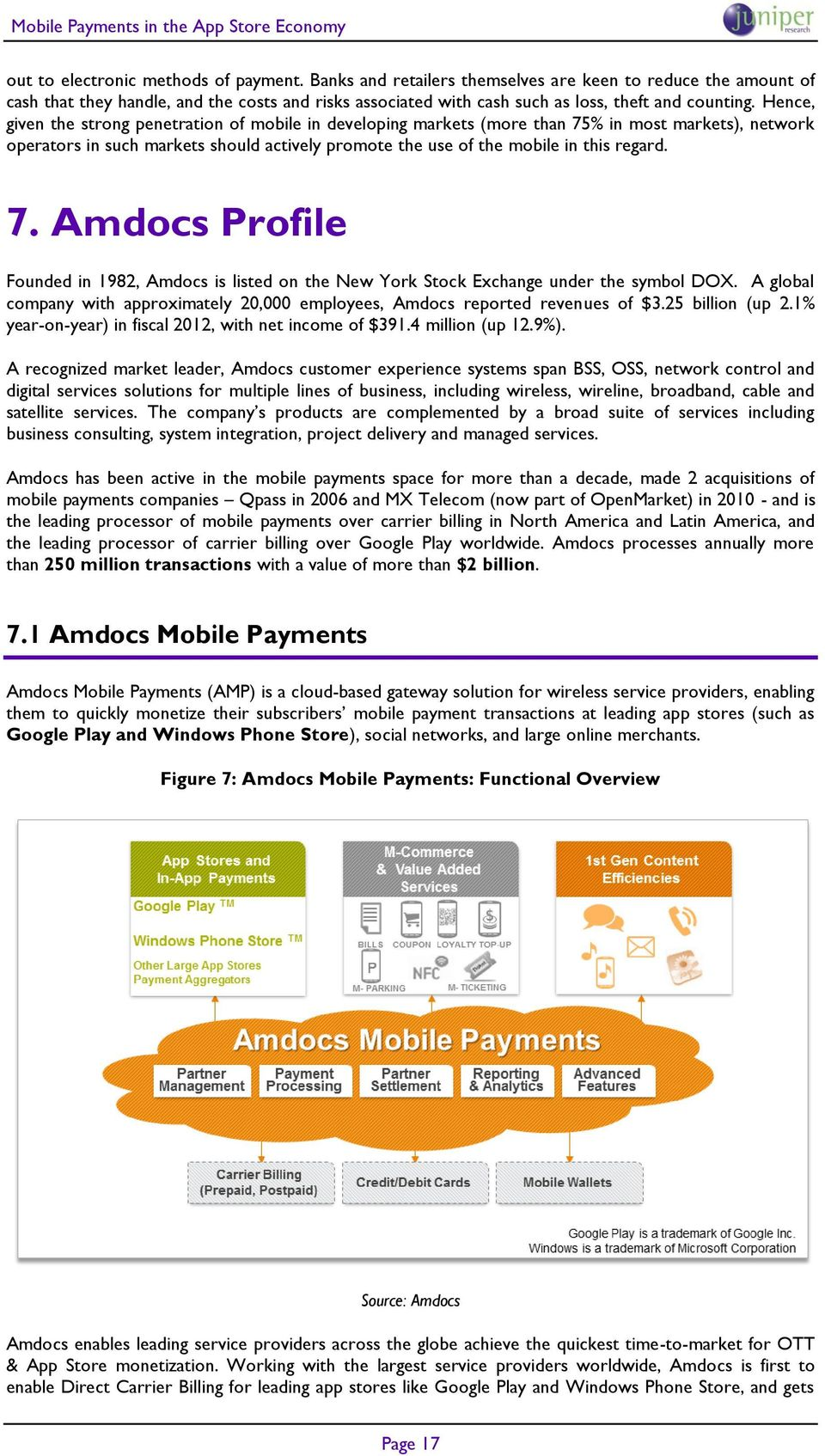 Hence, given the strong penetration of mobile in developing markets (more than 75% in most markets), network operators in such markets should actively promote the use of the mobile in this regard. 7. Amdocs Profile Founded in 1982, Amdocs is listed on the New York Stock Exchange under the symbol DOX.
