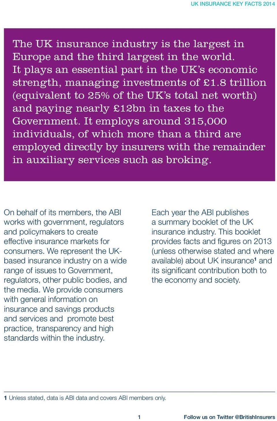 It employs around 315,000 individuals, of which more than a third are employed directly by insurers with the remainder in auxiliary services such as broking.