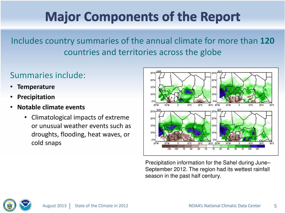 weather events such as droughts, flooding, heat waves, or cold snaps Precipitation information for the Sahel during