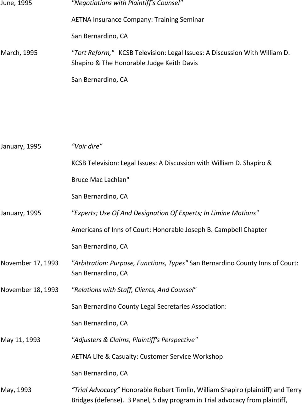 "Shapiro & Bruce Mac Lachlan"" January, 1995 ""Experts; Use Of And Designation Of Experts; In Limine Motions"" Americans of Inns of Court: Honorable Joseph B."