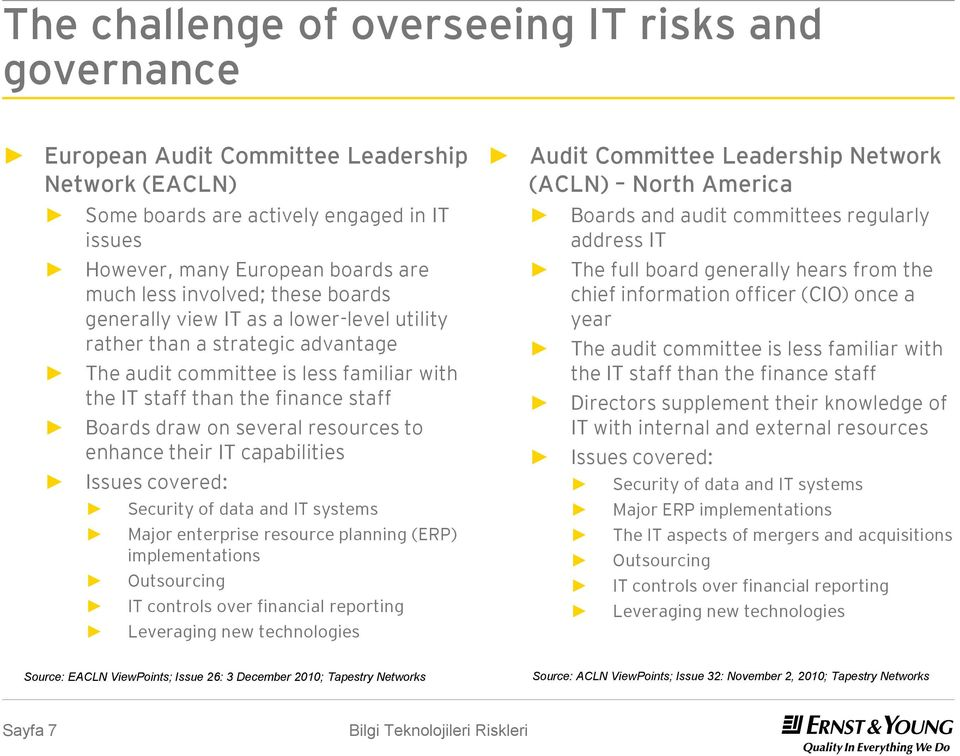 The audit committee is less familiar with the IT staff than the finance staff Boards draw on several resources to enhance their IT capabilities Issues covered: The full board generally hears from the
