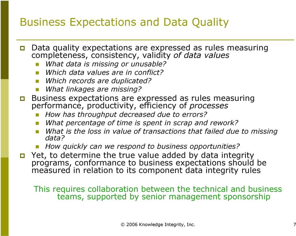 Business expectations are expressed as rules measuring performance, productivity, efficiency of processes How has throughput decreased due to errors?