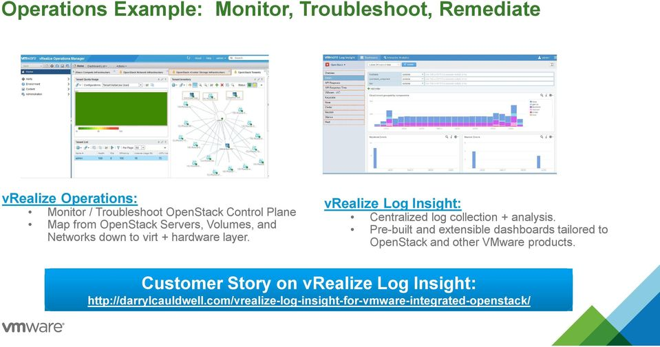 vrealize Log Insight: Centralized log collection + analysis.