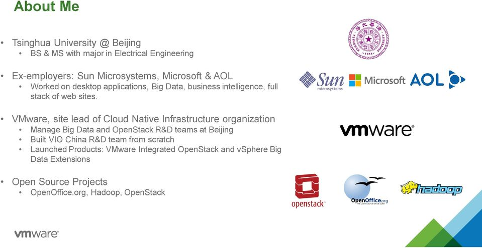 VMware, site lead of Cloud Native Infrastructure organization Manage Big Data and OpenStack R&D teams at Beijing Built VIO