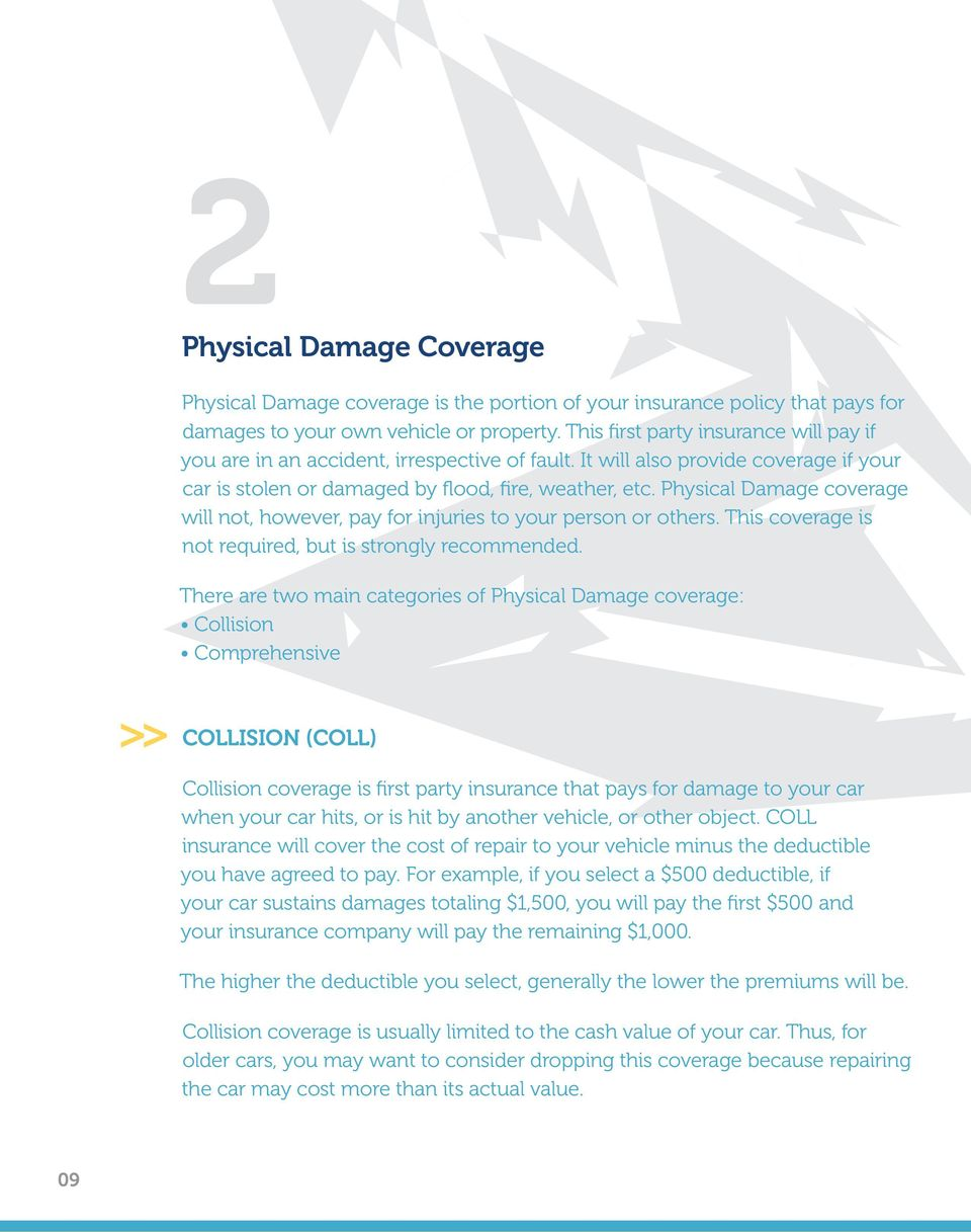 Physical Damage coverage will not, however, pay for injuries to your person or others. This coverage is not required, but is strongly recommended.
