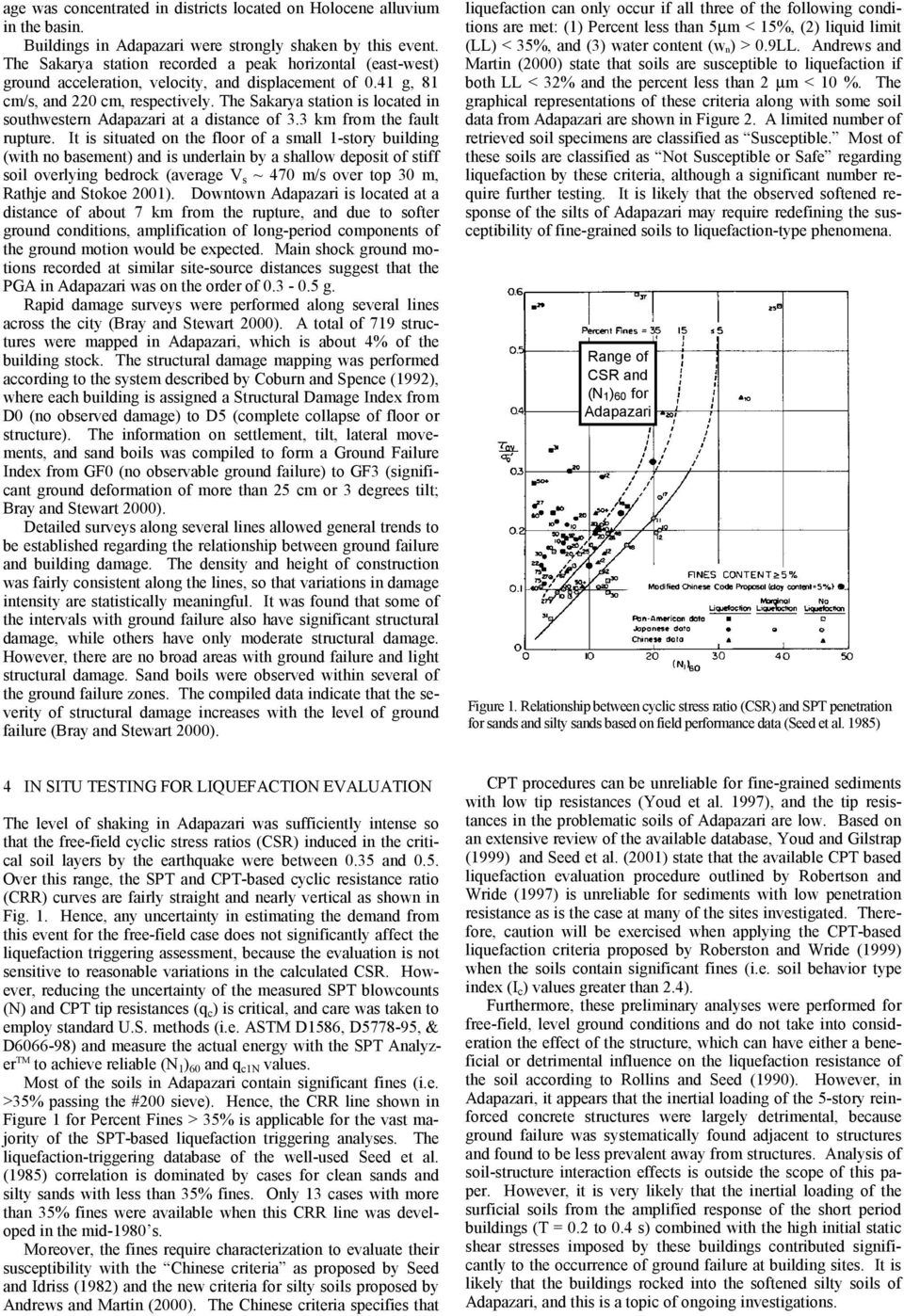 The Sakarya station is located in southwestern Adapazari at a distance of. km from the fault rupture.