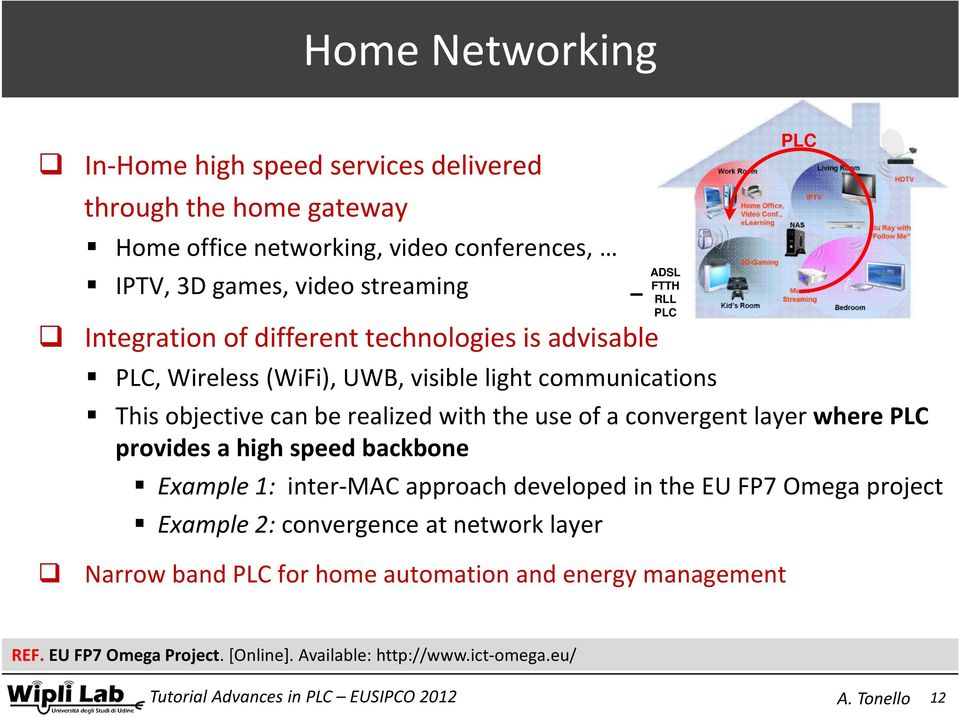realized with the use of a convergent layer where PLC provides a high speed backbone Example 1: inter MAC approach developed in the EU FP7 Omega project Example 2: