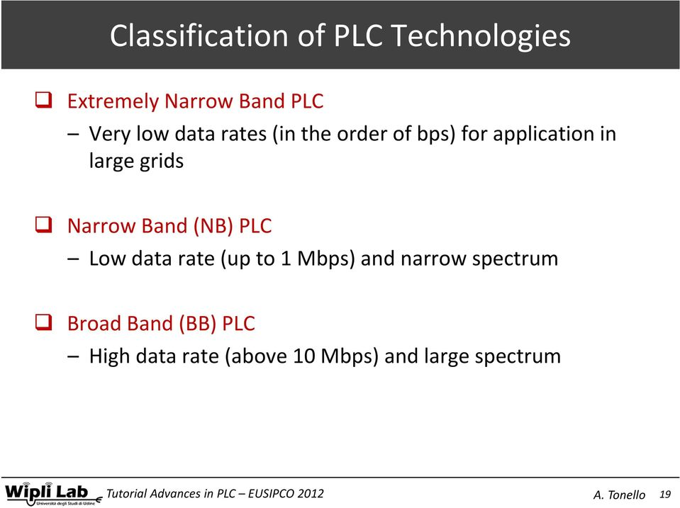 application in large grids Narrow Band (NB) PLC Low data rate (up to 1 Mbps)